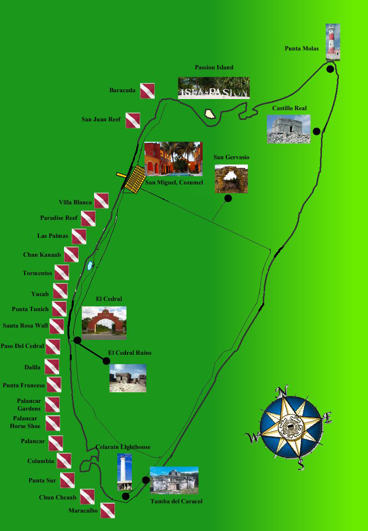 . map of cozumel island mexico
