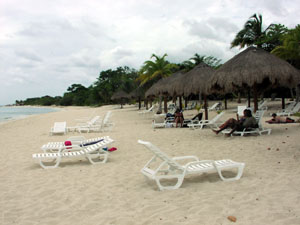 Beach massage, lounge chairs, shade and restaurant.