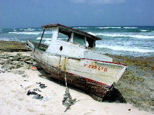 This boat washed up on shore with Cuban immigrants