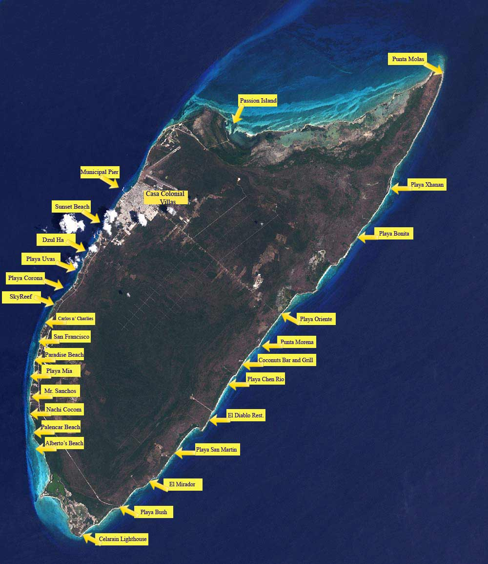 Cozumel Beaches Map