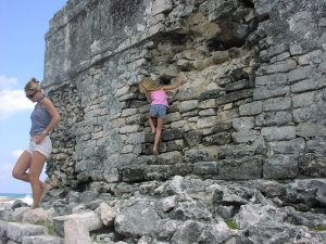 Please don't climb on the Mayan Ruin walls.